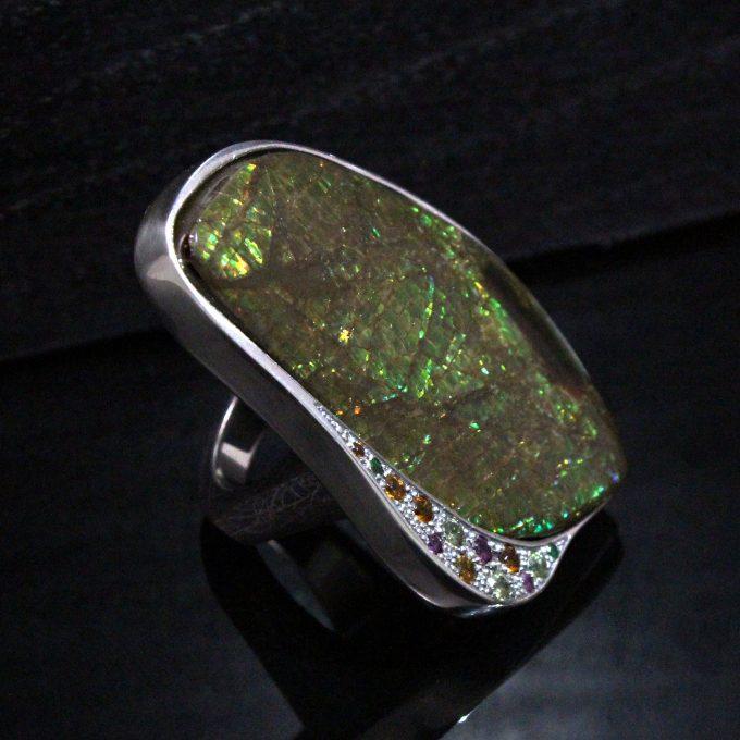 Caroline Savoie Joaillerie Bague Eden Ammolite Fait Main Bijoux Quebec Montreal Handmade Jewellery Ring (1)