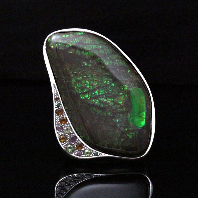 Caroline Savoie Joaillerie Bague Eden Ammolite Fait Main Bijoux Quebec Montreal Handmade Jewellery Ring (3)