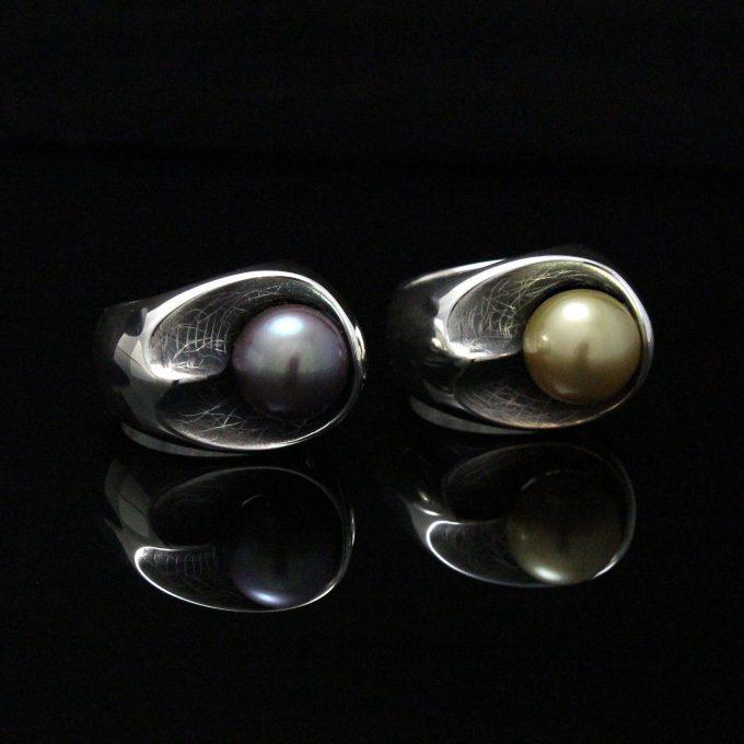 Caroline Savoie Joaillerie Bagues Perles Doree Mauve Kasumiga Bijoux Fait Main Quebec Montreal Handmade Jewelry Pearl Rings (2)