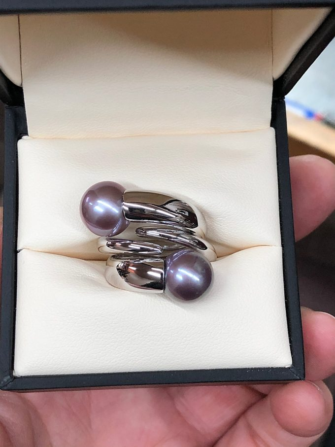 Caroline Savoie Joaillerie Bagues Colimacons Perles Kasumiga 18k Or blanc Bijoux Fait Main Au Quebec Montreal Handmade Jewellery Pearl Rings White Gold (1)