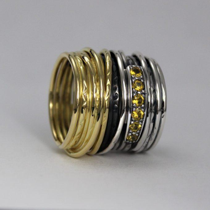 Caroline Savoie Joaillerie Bague Imperiale Or Jaune 18k Saphirs Bijoux Fait Main Quebec Montreal Handmade Jewelry Gold Yellow Sapphire Ring